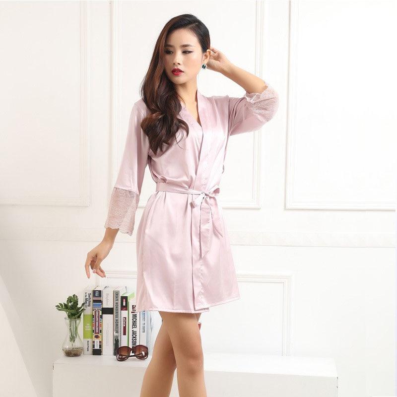 sexy womens nightwear bathing robes fashion sleepwear for female high quality real pink silk satin bathrobe M L XL XXL size