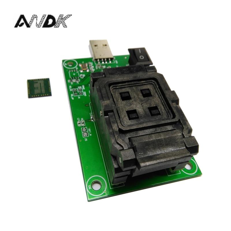 eMCP162 Socket to USB, for BGA162 BGA186 testing, Chip Size 12*16mm, eMCP programmer Clamshell Test Socket For Data Recovery clamshell qfp144 lqfp144 tqfp144 su h8s2505 tq144 programmer adapter for lp programmer