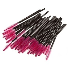 Make Up 50 pcs Knife Shaped Hair Disposal Fiber Eyelash Brushes Pink + Black  Beauty Accessories