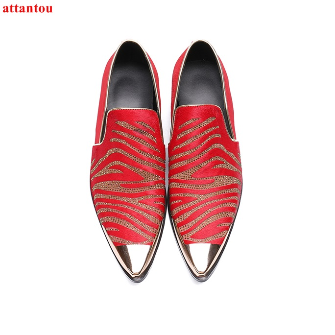 Hot Sale Autumn Pointed Toe Men Dress Shoes Red Leather Shoes Luxury Male Casual Shoes Slip-on Man Office Feast Formal Shoes hot sale blue snakeskin pointed toe men dress shoes lace up leather shoes luxury male casual shoes man office feast formal shoes