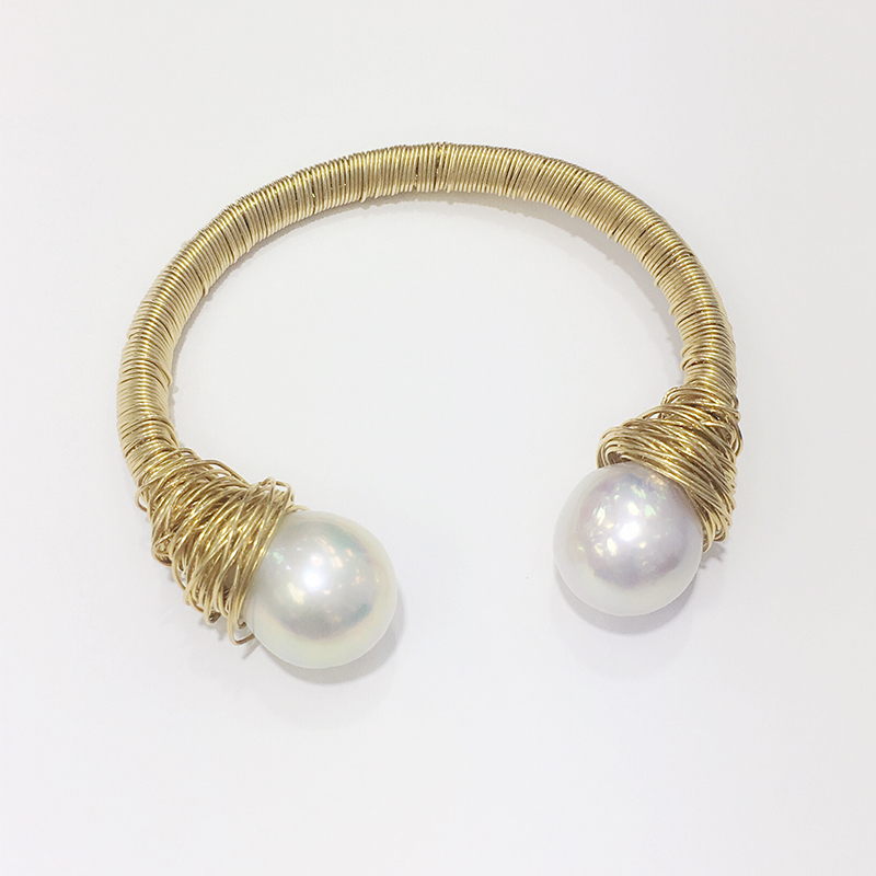 ANI 14K Roll Yellow Gold Pearl Handmade Bracelet Natural Pearl Jewelry Fashion Vintage Freshwater White Pearl Bracelet for Women ani 14k roll yellow gold pearl handmade bracelet natural pearl jewelry fashion vintage freshwater white pearl bracelet for women