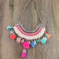 2016 New Handmade Boho Choker Necklaces Tibetan Tassel Ball Pendants Necklaces Beaded Charm Necklace