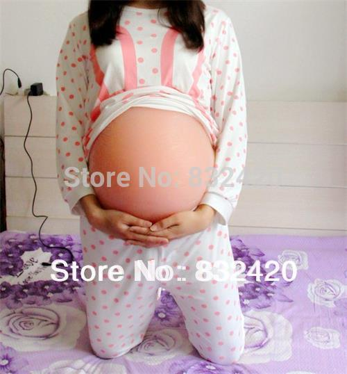 цены Free shipping Light Skin Color 40000gr silicone belly pregnant belly silicone bump for fake pregnancy