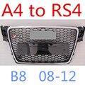 Подходит для AUDI RS4 РЕШЕТКА Высокое Качество ABS Передний Автомобилей Гриль Для Audi A4 Обновление для RS4 Подходит Для Audi A4 RS4 08-12 avant B8
