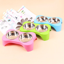 Cat Double bowl Plastic Stainless Steel