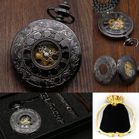 Classic Design Black Mechanical Hand wind Pocket Watch Roman Number Hollow Half Hunter Steampunk Skeleton Pocket Watch Gift Set