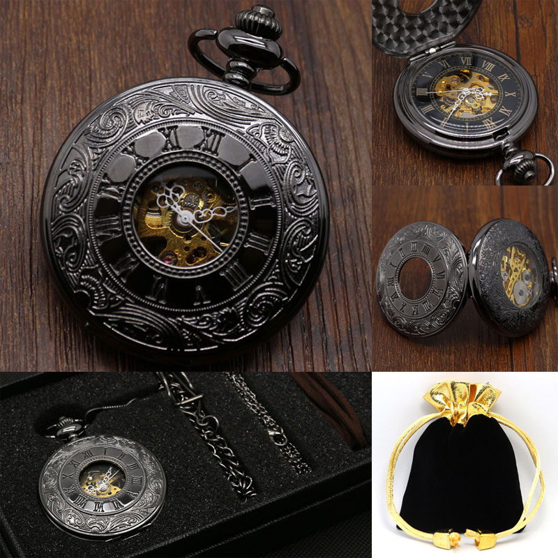 Classic Design Black Mechanical Hand-wind Pocket Watch Roman Number Hollow Half Hunter Steampunk Skeleton Pocket Watch Gift Set