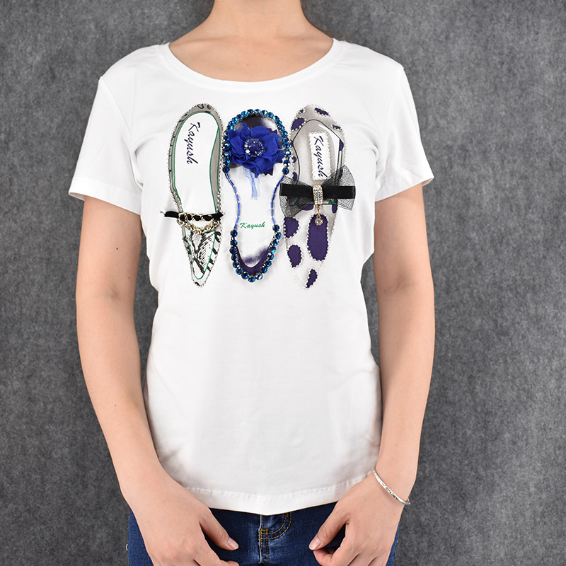 new 2016 women t shirts short sleeve t shirts 3d 3 shoes