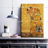 Top Artist Pure Handpainted High Quality Canvas Painting Gustav Klimt reproductions Tree of Life Quardro Modern Art Oil Painting