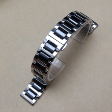 14mm 16mm 18mm 20mm 22mm Watch Bracelet Strap Ceramics Stainless Steel WatchBand common Watches Accessories Men Black White New