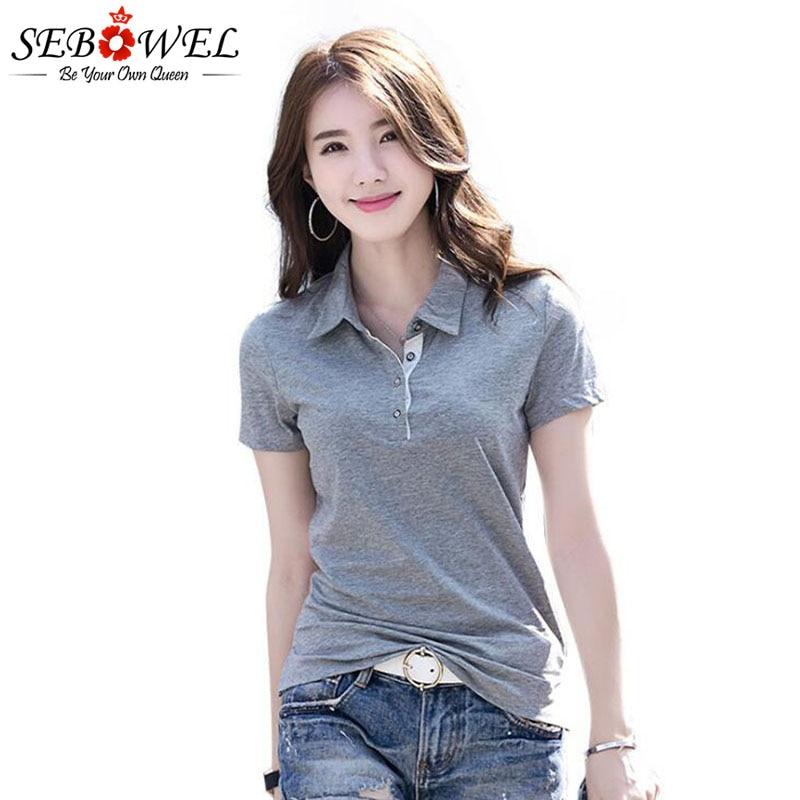 SEBOWEL Summer Polo Shirt Woman Solid Lapel Jersey Shirts Slim Plus Size 2019 Female Short Sleeve Office Lady Fashion Tops Polos