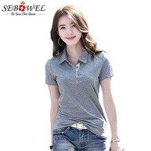 SEBOWEL Summer Polo Shirt Woman Solid Lapel Short Sleeve Office Lady Fashion Top