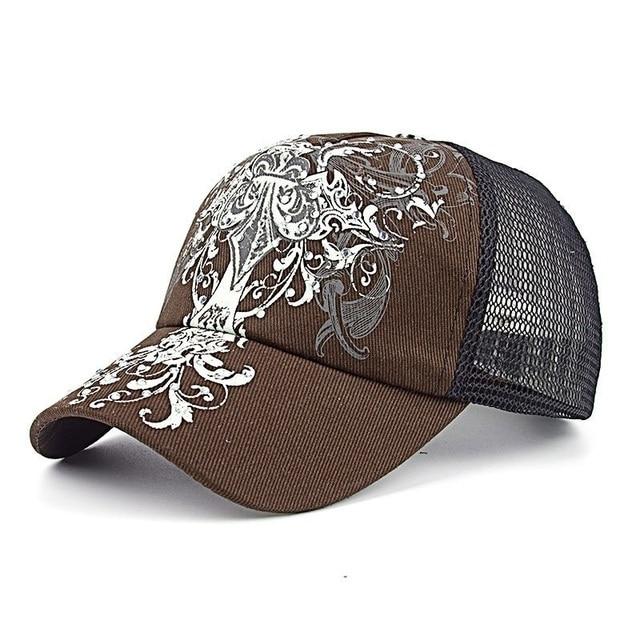 68e612ecc30 Hot Print Floral Flower Curved Bill Vent Mesh Caps Women   Man Strap  Baseball Caps Hip Hop Snapback Hats Summer Casual Gorras
