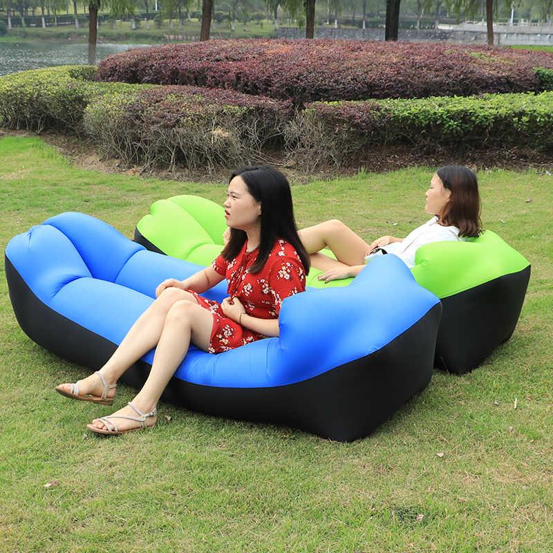 Rápido Dobrável Ao Ar Livre Cadeira de Praia Cadeira Do Sofá Do Saco de Dormir preguiçoso laybag Cama de Ar de Acampamento Inflável cadeira Do Sofá Sofá Espreguiçadeira