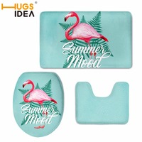 HUGSIDEA Flamingo Pattern 3 Pieces Set Toilet Seat Cover Rugs U Shape Floral Bathroom Small Carpet