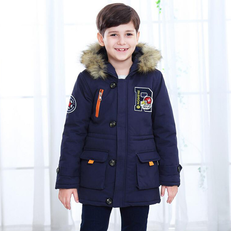2018 winter jacket for boys down jacket hooded warm thick coat children clothes kids parkas fur collar overcoat for boys fashion long parka kids long parkas for girls fur hooded coat winter warm down jacket children outerwear infants thick overcoat