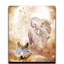 3D animals Square Diamond mosaic Embroidery Full Rhinestone paint Diy  Decorative painting Women and Wolf