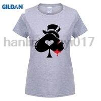 GILDAN 2018 Newest Brand Clothes Design Heart Poker T Shirt Wome Short Sleeve Cool Print T