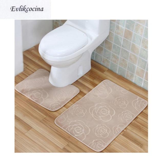 Free Shipping 2pcs Gray Flowers Bathroom Toilet U Type Bath Mat Set ...