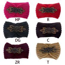 Sprzedawaj ze stratą! 6 kolorów kobiet masywny kabel opaska z dzianiny jednolity kolor brokat Rhinestone syntetyczny kryształ aplikacja H tanie tanio BELLYQUEEN CN (pochodzenie) Other WOMEN Dla dorosłych Nakrycia głowy Opaski Moda Stałe Hair Band