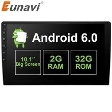 """Eunavi 2 GB + 32 GB 10.1 """"2 Din Android 6.0 Sistema de Navegación GPS Unidad Principal Estéreo Radio de Coche Universal con control del volante"""