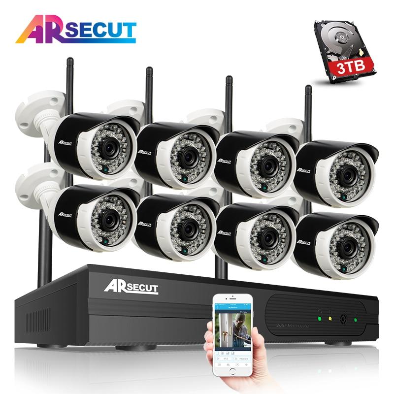 bilder für P2P 8CH CCTV System Wireless NVR Kit 8 stücke 1080 P HD Outdoor IR Nachtsicht Sicherheit Ip-kamera WIFI Videoüberwachung System