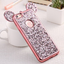 FLOVEME Glitter Cover For iPhone 6 6S Plus iPhone 7 8 Plus X Phone Case Cute 3D Mickey Mouse Coque Capa For iPhone SE 5S S Cases(China)