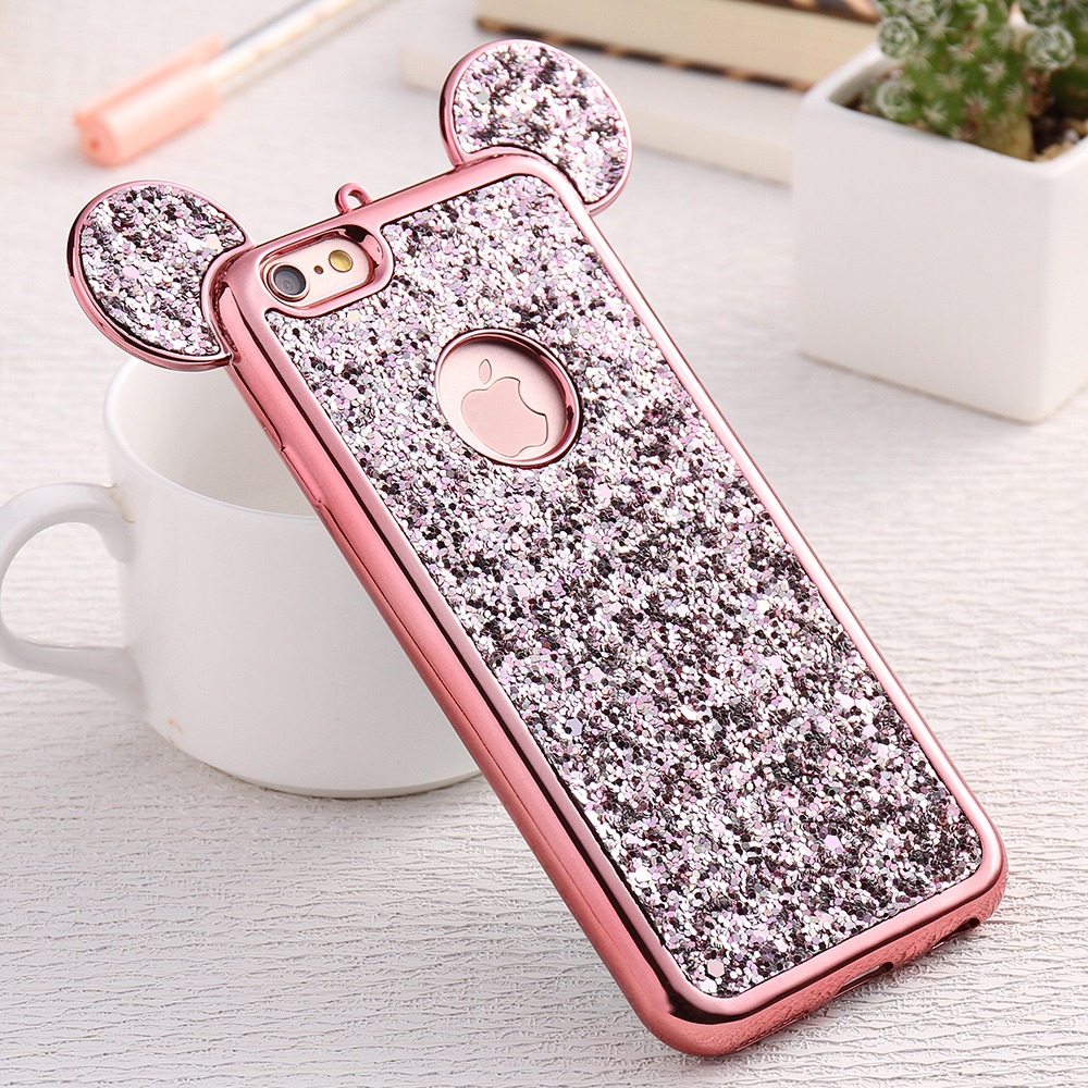 floveme glitter cover for iphone 6 6s plus iphone 7 8 plus x phone case cute 3d mickey mouse. Black Bedroom Furniture Sets. Home Design Ideas