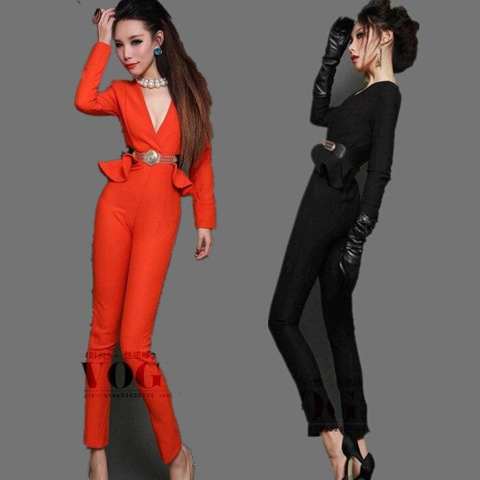 NEW FASHION women Winter long sleeve V neck SEXY black & orange ...