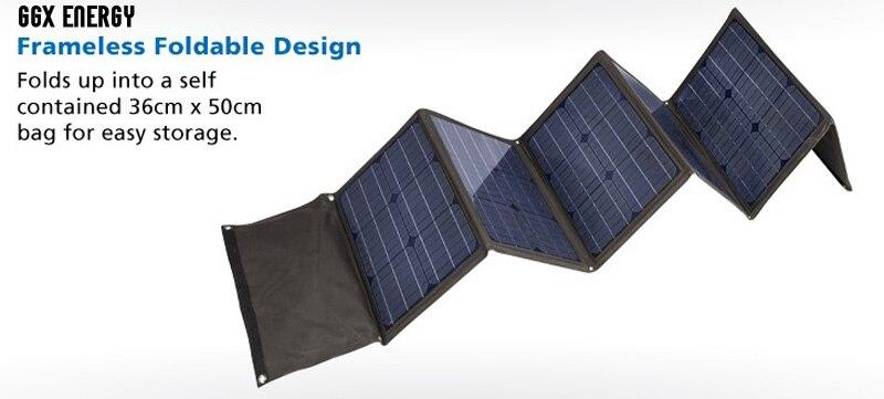 GGX ENERGY 120W Solar Folding Kit Monocrystalline Solar Battery 120 Watt Portable Solar Panels for Camping 1 Array