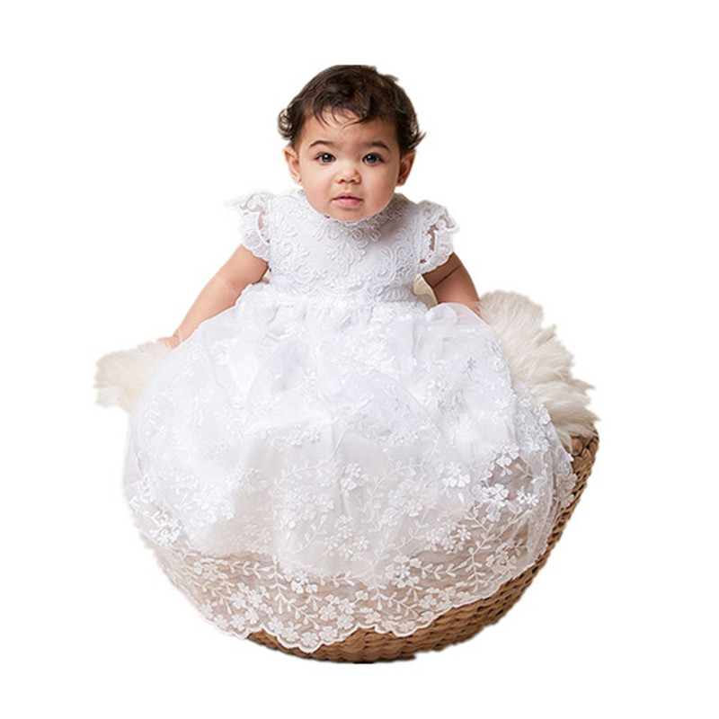 BBWOWLIN Super Long Newborn Baby Girl Baptism Christening Gowns Dress Costumes for 0-2T Birthday First Communion Dresses 80249 bbwowlin white newborn baby girl christening gowns headdress 1 year birthday dress first communion dresses for girls 90138