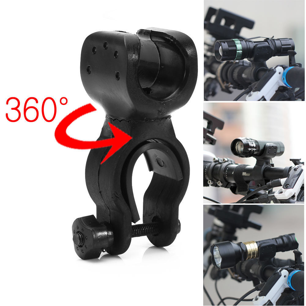 Multi-fonction 360 Torch Clip Mount Bicycle Front Light Bracket Support de lampe de poche 360 ​​Rotation Avec des joints en caoutchouc antidérapants