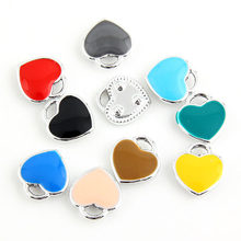 10pcs 11x12mm Trendy Silver Plated Alloy Love Heart Enamel Charm Pendant Fit DIY jewelry Making Necklace Earrings(China)