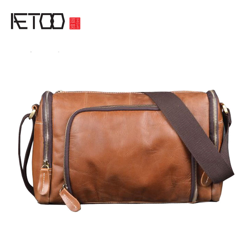 AETOO New handmade cylinder shoulder bag head layer cowhide messenger bag mad horse skin simple fashion casual men bag aetoo women retro shoulder bag fashion handbags europe and america shoulder bag head layer cowhide mad horse shopping bag