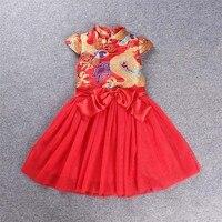 2017 שנה החדשה של בנות שמלה פרחוניות שמלת מקשה אחת cheongsam סגנון הסיני cheongsam האדום מתנת ילדי משלוח חינם