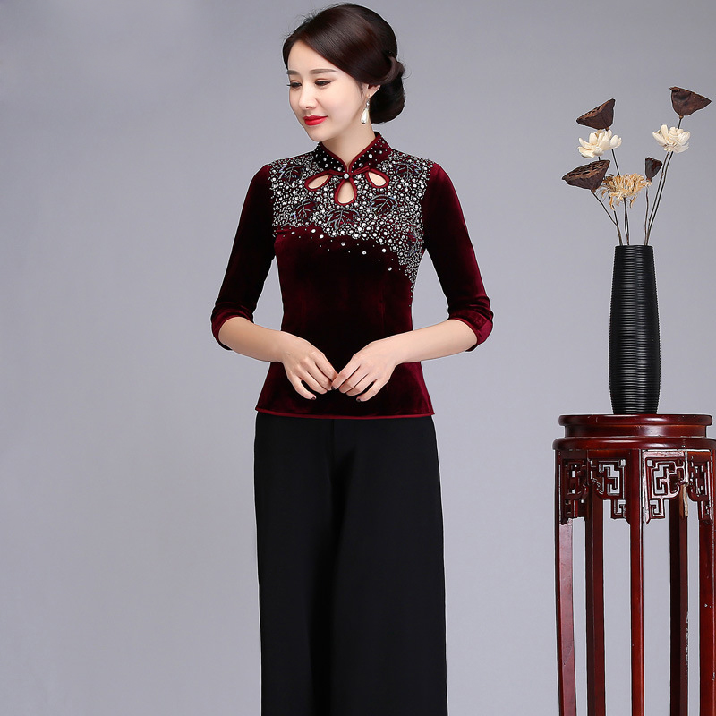 Chinese language Classic Girls Three Quarter Sleeve Shirt Beading&Sequined Velvet Shirt Horny Mandarin Collar Tang Clothes M-4XL Blouses & Shirts, Low-cost Blouses & Shirts, Chinese language Classic Girls Three...