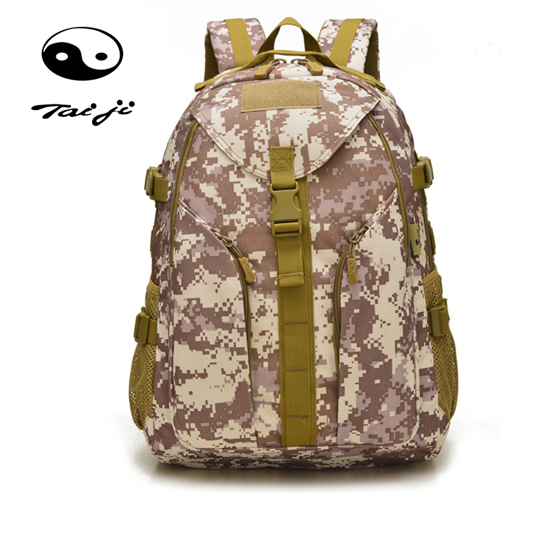 Taiji Large Capacity Multi Space Outdoor Sport Tactical Climbing Backpack Mountaineering Bag Molle Military Army Waterproof Camo