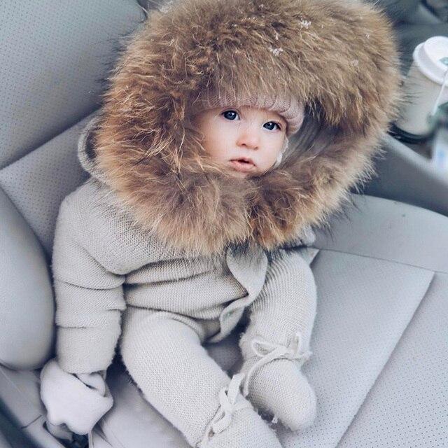 Infant Baby Strampler Winter Kleidung Neugeborenen Baby Junge Mädchen Strick Pullover Overall waschbär Pelz Mit Kapuze Kid Kleinkind Oberbekleidung