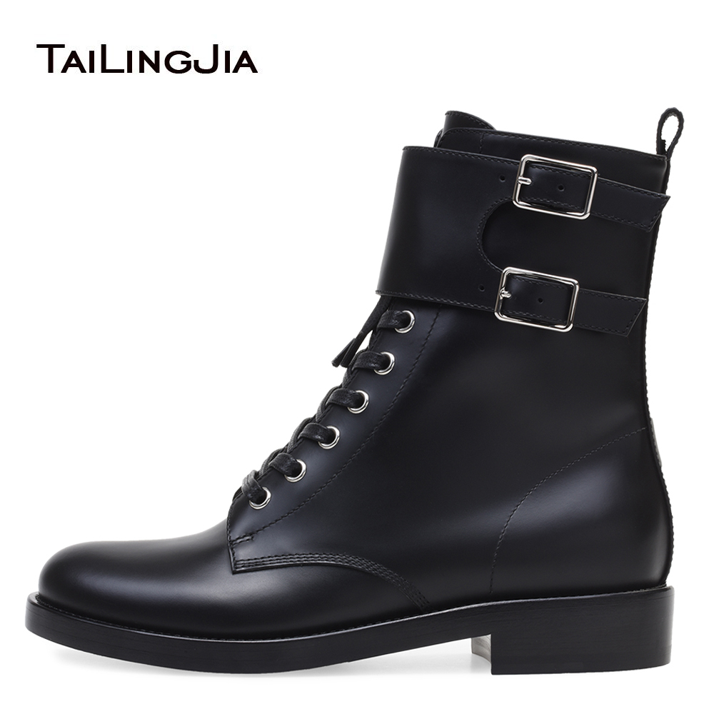 Black Combat Boots for Women Lace Up Motorcycle Boots Female Thick Heel Ankle Booties Ladies Block Heel Shoes Short Botas 2018 цена