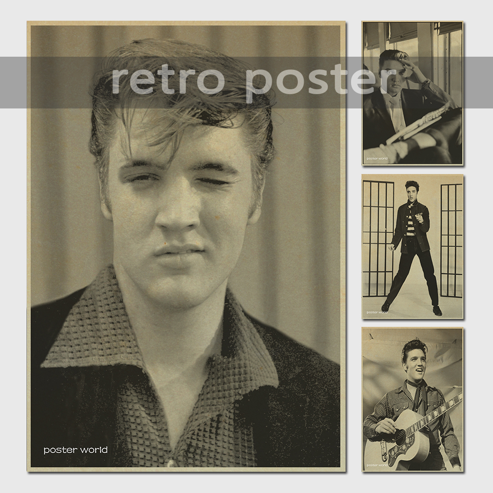 Vinilos Paredes Nostalgic Rock Star Elvis Presley Posters Complex Ancient Decorative Painting Vintage Greeting Card