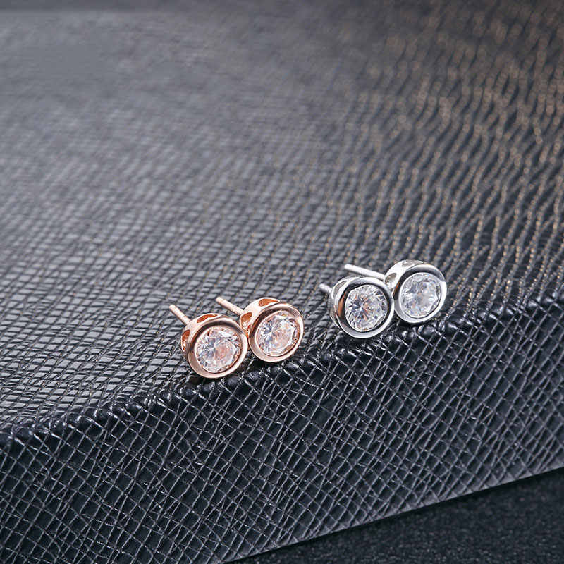 FNJ 100% 925 Silver Earring Women S925 Sterling Silver boucle d'oreille White AAA Crystal Zircon Stud Earrings