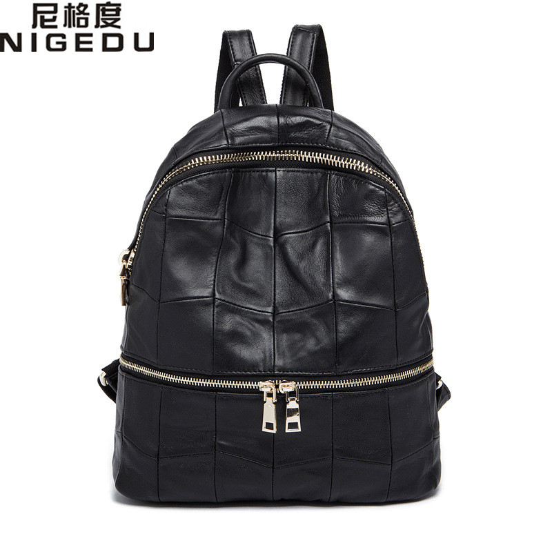 NIGEDU Brand Genuine Leather Women Backpacks Large Capacity Female School Bag Laptop Backpack Girls Shoulder Travel Mochila kundui fashion designe women backpack genuine leather female backpacks schoolbag girls large capacity shoulder travel book bag