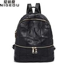 Nigedu брендовая натуральная кожа женские рюкзаки большой Ёмкость Женский школьная сумка рюкзак для ноутбука на плечо девушки путешествия Mochila