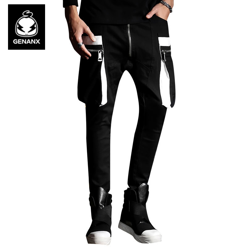 Genanx Brand Black Fashion Pants Male Little Feet Spring Loose Mid-Rised Trousers Men Tide Size M-XXL mens joggers 2017 brand male trousers men pants casual pants sweatpants jogger black xxxl adbbb