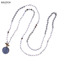 KELITCH Jewelry Round Beads Pendants Necklaces Handmade Strand Long Beaded Beach Necklace Wholesale Drop Shipping