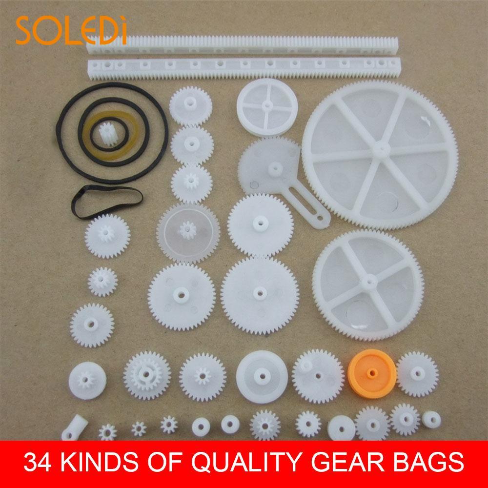 34 Styles DIY Gear Cog Wheel Pulley Plastic Create Robot DIY Gear Car Robot Parts DIY Necessary Drop Shipping