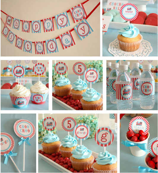 Train Birthday Party Cupcake Topper Vintage Choo Decorations Kids Banner