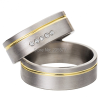 Pure Titanium White Gold Color With 18k Yellow Gold Plated Inlay CZ Diamond Engagement Wedding Rings