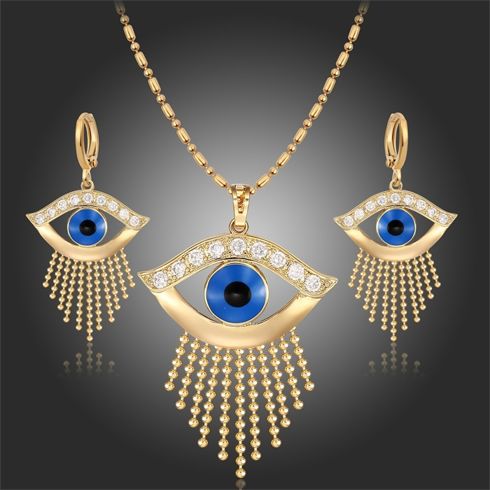 """Accurato Oro Giallo Colore Blu Evil Eyes Fringe Bead Catena Nappa 18 """"pendente Della Collana Orecchini Insieme Dei Monili Per Le Donne Egitto Faraone Aspetto Attraente"""