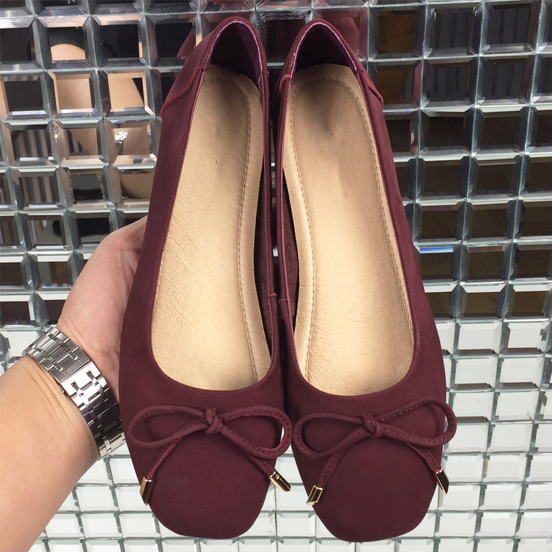 Femmes Verni Red Bowtie Cuir Plus apricot Dame red Arrivée Carré Chaussures Ballerines Bout En Plat wine Nouvelle black 40 Patent Leather khaki Leather Taille Pour Black Leath 2018 6qISwYn